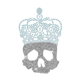 Glitter Skull in Crystal Blue Crown Iron on Rhinestone Transfer