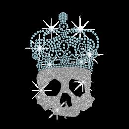 Glitter Skull in Crystal Blue Crown Iron on Rhinestone Transfer