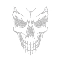 Crystal Horrible Skull Iron on Rhinestone Transfer