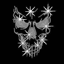 Crystal Horrible Skull Iron on Rhinestone Transfer