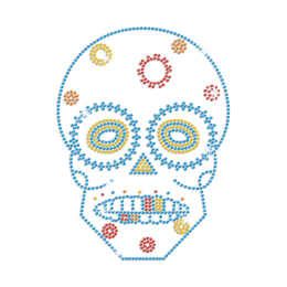 Teal Blue Skull Hotfix Rhinestone Applique