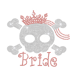 Crystal Pirate Skull Bride in Crown Iron-on Rhinestone Transfer