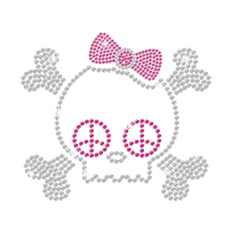 Bling Crystal Skull with Peace Sign Iron-on Rhinestone Transfer