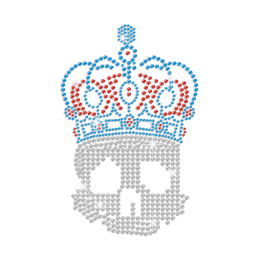 Crystal Skull in Crown Iron-on Rhinestone Transfer Motif