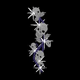 Fashionable Skull Flower Iron on Rhinestone Transfer