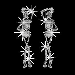 Interesting Skull Couple with Long Legs Iron on Rhinestone Transfer