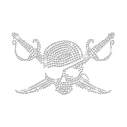 Adventurous Pirate Skull with Sabres Iron on Bling Design