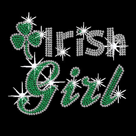 Lucky Irish Girl Lettering Rhinestone Iron on Pattern