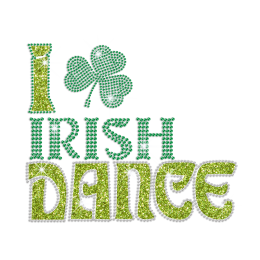 I Love Irish Dance Iron on Rhinestone Design