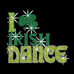 I Love Irish Dance Iron on Rhinestone Design