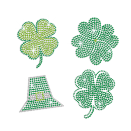 Bling Green Clover Saint Patrick Day Iron on Rhinestone Transfer Decal