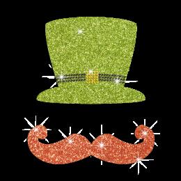Glittering Green Hat And Orange Beard Patrick's Day Rhinestone Iron On