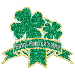 Clover Medal And Glittering Patrick Day's Ribbon Rhinestone Iron On