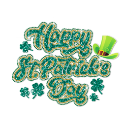 Glitter Happy Saint Patricks Day Rhinestone Transfer