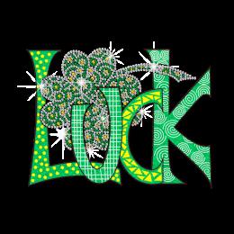 Custom Clover and Luck Rhinestone Design