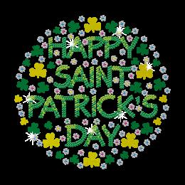 Print Glitter Flower Patricks Day Rhinestone Design