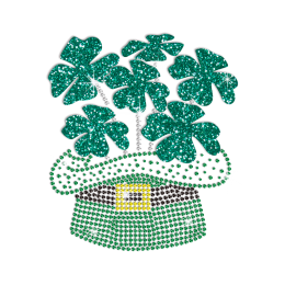 Sale Shamrocks Grow in The Green Top Hat Rhinestone Design