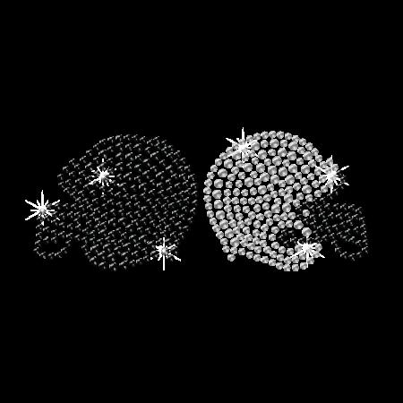 Bling Black and White Crystal Helmet Hotfix Transfer