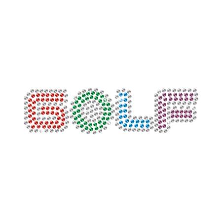 Rhinestone Four-color Letter Golf Iron on Transfer