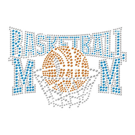 Iron on Bling Basketball Mom Rhinestone Motif Design