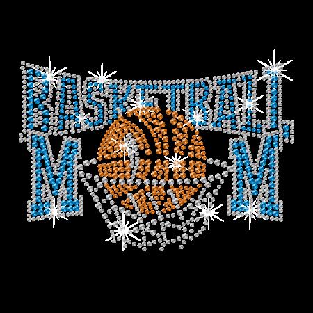 Iron on Bling Basketball Mom Rhinestone Motif Design