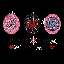 Glitter Iron on Peace Love Volleyball Rhinestone Transfer