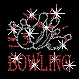Fashionable Bowling Iron on Rhinestone Transfer Motif