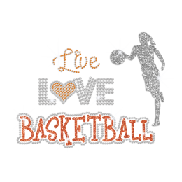 Live Love Basketball Iron on Glitter Rhinestone Transfer Decal