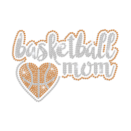Sparkling Basketball Mom Iron on Rhinestone Transfer Motif