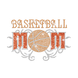 Glittering Basketball Mom Iron on Rhinestone Transfer Motif