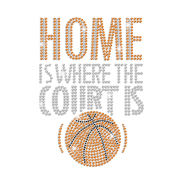 Home Is Where The Court Is Iron on Rhinestone Transfer Decal