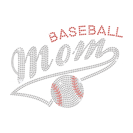 Bling Baseball MOM Iron On Rhinestone Transfer