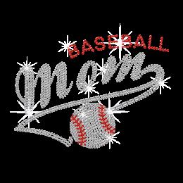 Bling Baseball MOM Iron On Rhinestone Transfer