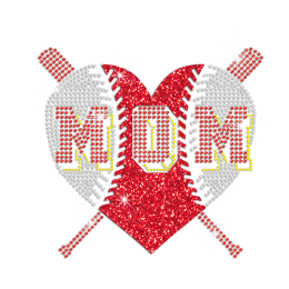 Glittering Baseball Mom Heart's Graphic Iron on Rhinestone Transfer Decal