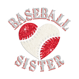 Glittering Heart Baseball Sister Iron on Rhinestone Transfer Motif