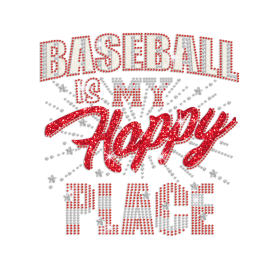 Baseball Is My Happy Place Iron on Glitter Rhinestone Transfer Motif