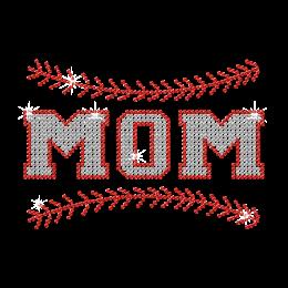 Twinkling Crystal Baseball Mom Iron On Design