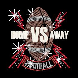 Glittering Home VS Away Football Iron on Rhinestone Transfer Motif