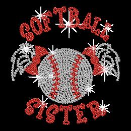 Softball Sister Cute Rhinestone Transfer Design