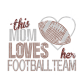 This Mom Loves Her Football Team Iron on Glitter Rhinestone Transfer Decal