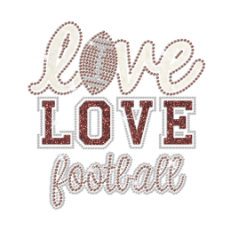 Bling Live Love Football Iron on Glitter Rhinestone Transfer Decal
