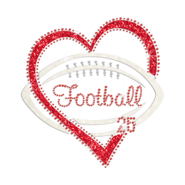 Bling Football Glittering Heart Graphic Iron on Rhinestone Transfer Decal