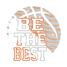 Be The Best Bling Basketball Iron on Flock Rhinestud Transfer Decal