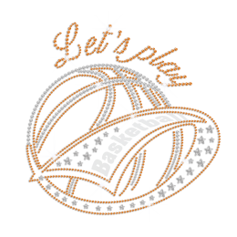 Let\'s Play Bling Basketball Iron on Flock Rhinestone Transfer Decal