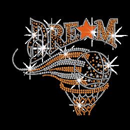 Flying Basketball Dream Iron on Flock Rhinestone Transfer Decal
