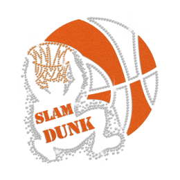Sparkling Slam Dunk Basketball Iron on Flock Rhinestone Transfer Decal