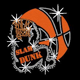 Sparkling Slam Dunk Basketball Iron on Flock Rhinestone Transfer Decal