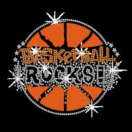 Bling Basketball Rocks Iron on Flock Rhinestone Transfer Motif