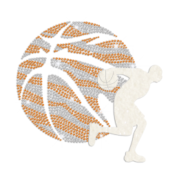 Playing Sparkling Basketball Iron on Flock Rhinestud Transfer Motif