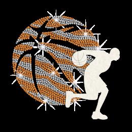 Playing Sparkling Basketball Iron on Flock Rhinestud Transfer Motif